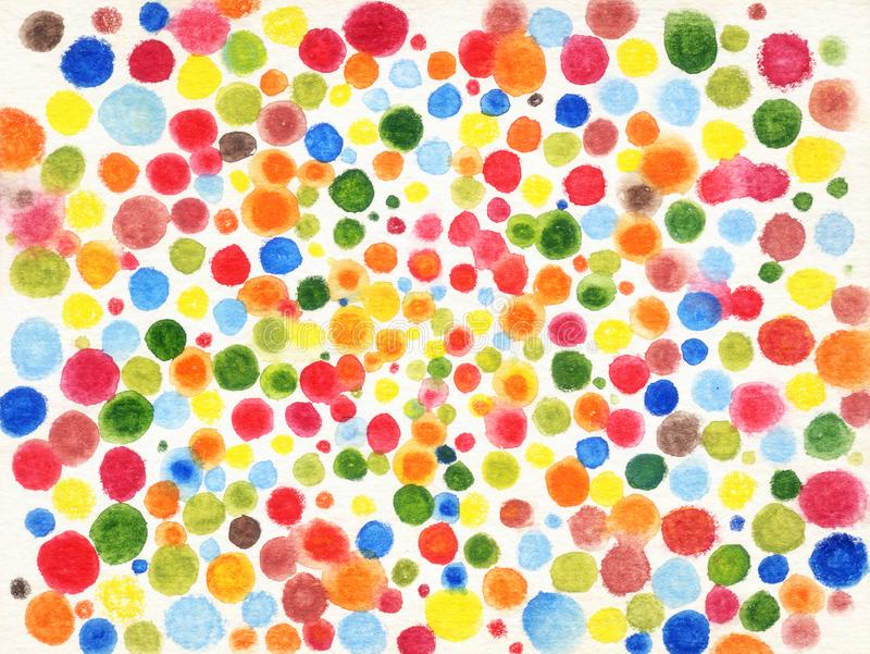 Colorful dot by water color on white background royalty free illustration