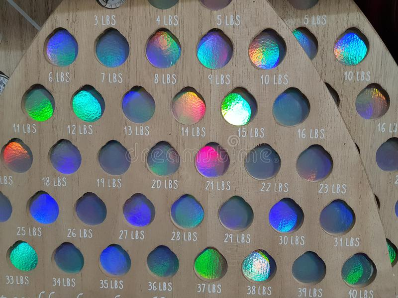 Colorful dots - weight chart stock images
