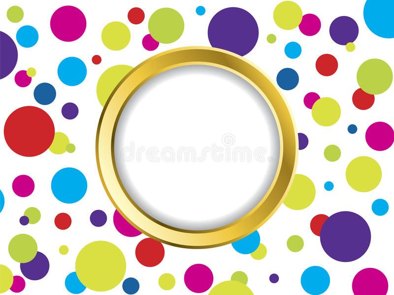 Colorful dotted backdrop with golden ring royalty free illustration
