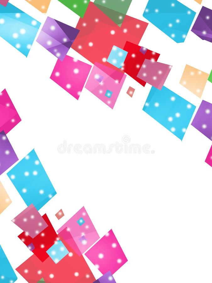 Colorful dotted squares overlap abstract background. Vertical creative background stock illustration