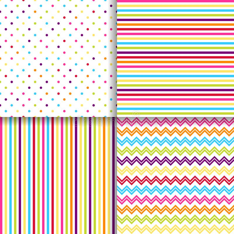 Colorful dotted and striped seamless patterns vector backgrounds royalty free illustration