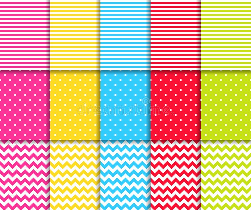 Colorful dotted and striped seamless patterns vector backgrounds vector illustration