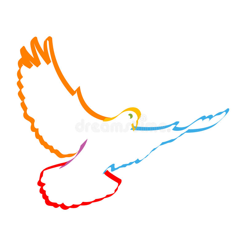 Colorful dove stock illustration