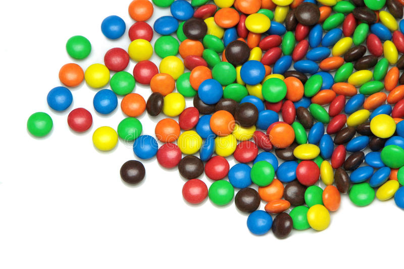 Colorful dragee candies on white background royalty free stock image