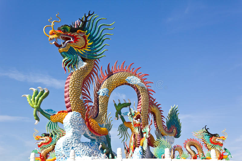 Colorful Of Dragon Statue with Blue sky stock image