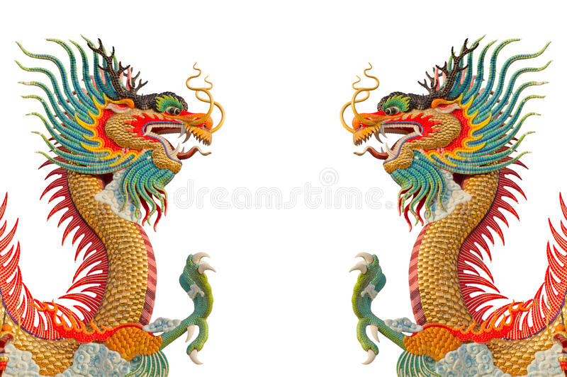 Colorful Dragons. Colorful dragons isolated on white royalty free stock photos