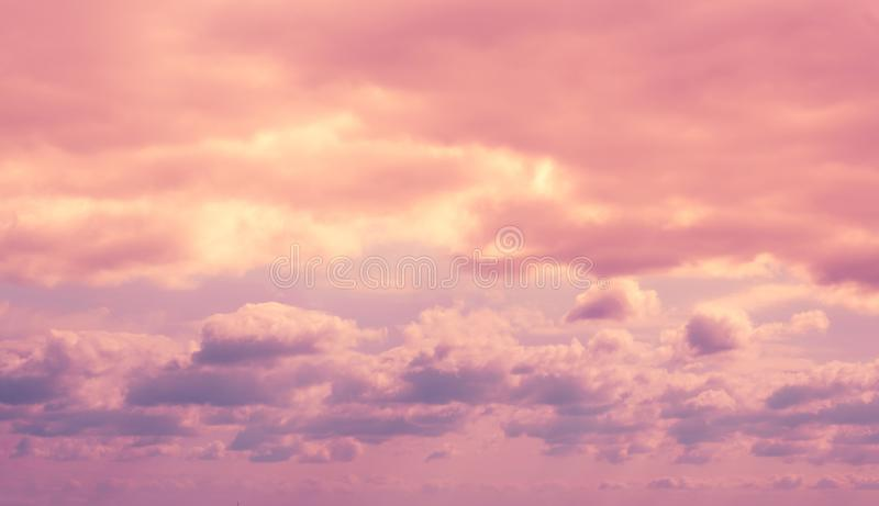 Colorful dramatic lilac sky and ultra violet clouds. Nature background with space for copy stock photo