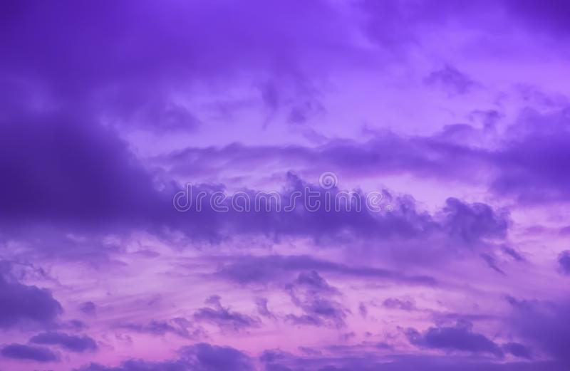 Colorful Dramatic Violet Sky With Clouds royalty free stock image