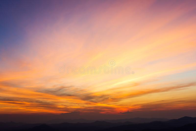 Colorful dramatic sky with cloud at sunset. Airplane amazing atmosphere background blue bright incredible landscape nature orange pink purple rise sunrise view stock photo