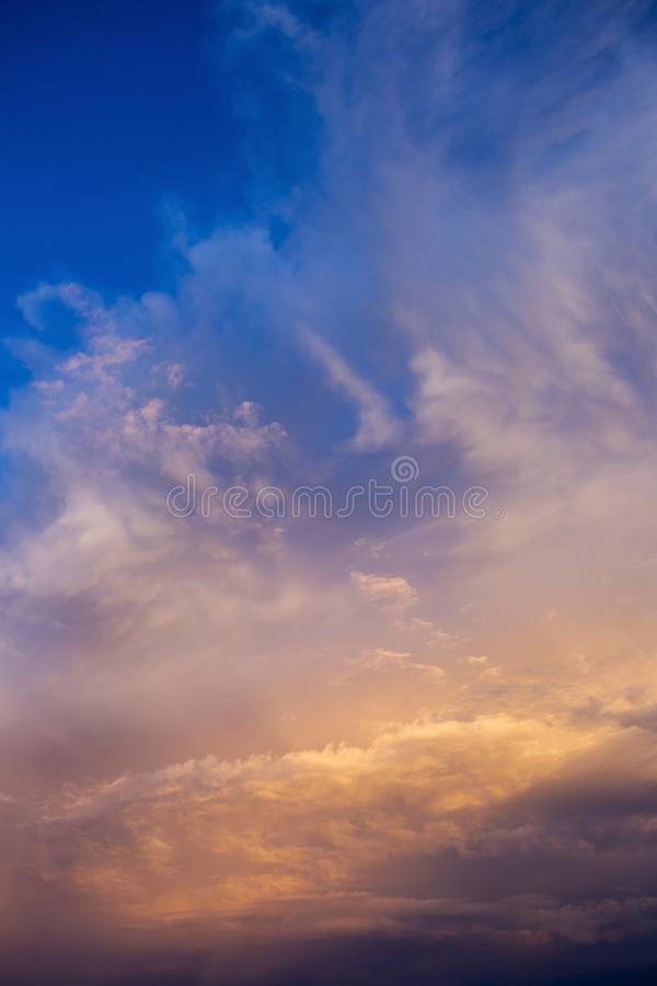 Colorful dramatic sky with cloud at sunset.  stock photography