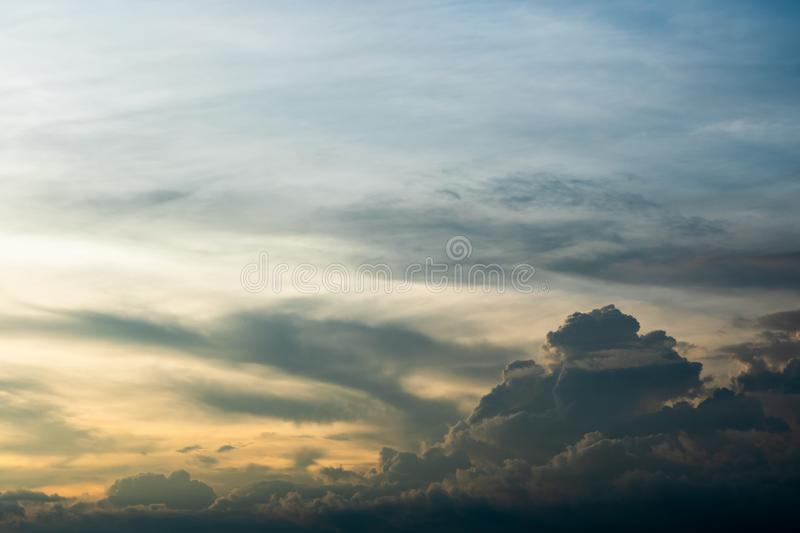 colorful dramatic sky with cloud at sunset royalty free stock photos