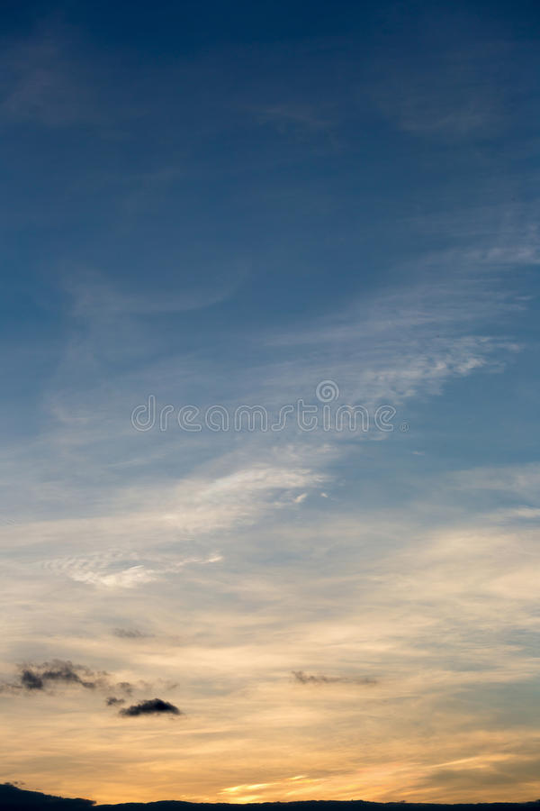 Colorful dramatic sky with cloud at sunset.Sky with sun background.  stock image