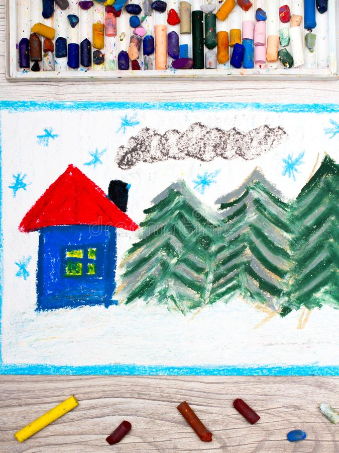 Colorful drawing: Beautiful winter landscape with cute house and coniferous trees. Photo of colorful drawing: Beautiful winter landscape with cute house and stock illustration