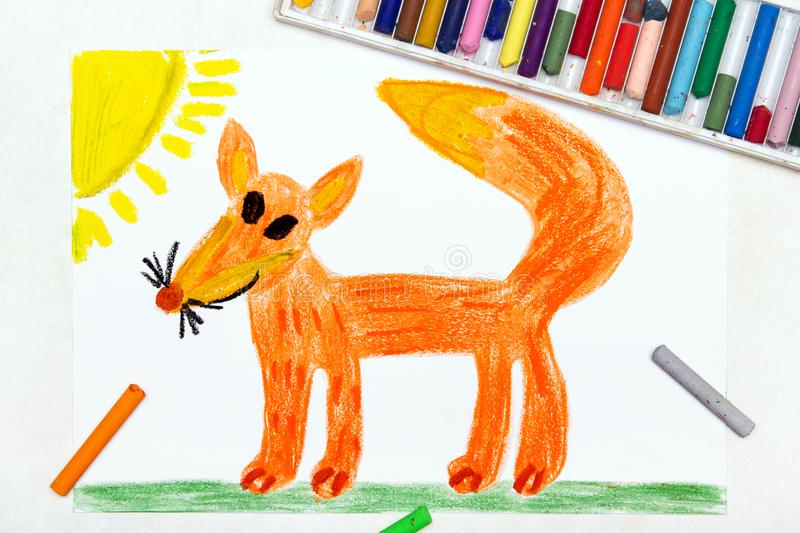 Drawing: cute smiling fox stock photo
