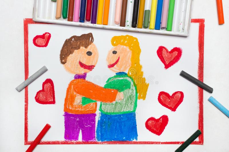 Drawing: Happy couple cuddling surrounded by red heart. Colorful drawing: Happy couple cuddling surrounded by red heart. Valentine`s Day royalty free stock photography