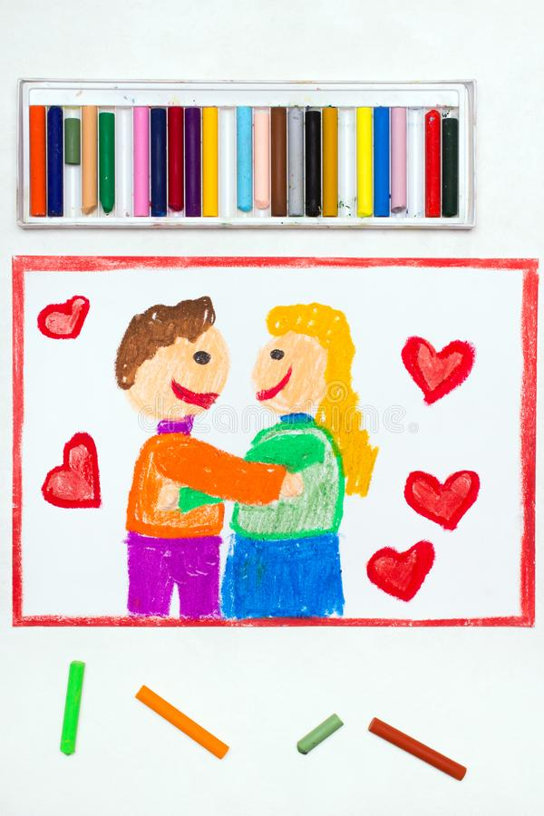 Drawing: Happy couple cuddling surrounded by red heart. Colorful drawing: Happy couple cuddling surrounded by red heart. Valentine`s Day stock photos