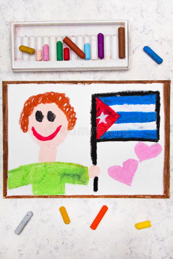 Colorful drawing: Happy man holding Cuban flag. royalty free stock images
