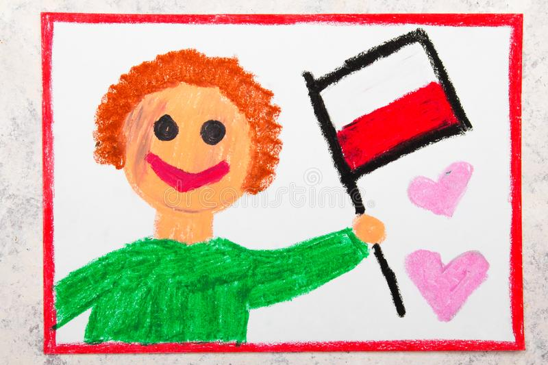 Colorful drawing: Happy man holding Polish flag. Flag of Poland stock photos