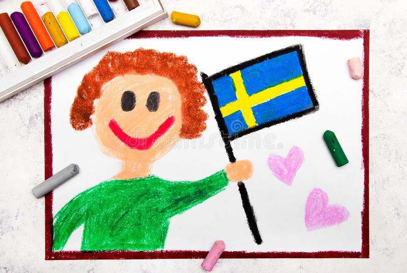Colorful drawing: Happy man holding Swedish flag. Flag of Sweden and smiling boy royalty free stock images