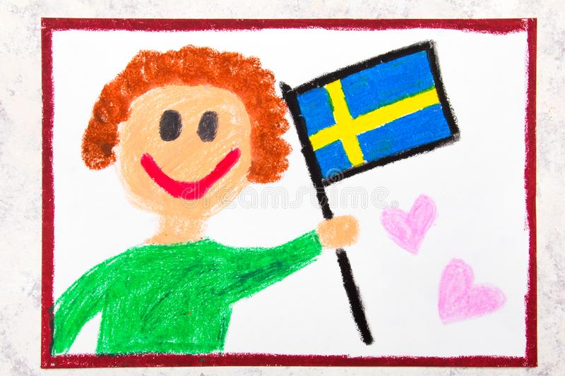Colorful drawing: Happy man holding Swedish flag. Flag of Sweden. And smiling boy stock photography