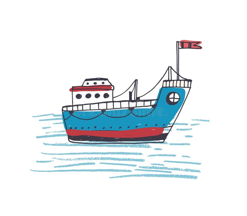 Colorful drawing of passenger ferry boat or marine vessel with flag sailing in sea. Cargo or freighter ship in ocean royalty free illustration