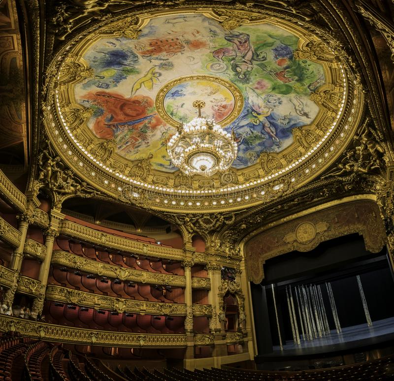 The colorful drawing roof of the Auditorium in the famous Palais Garnier. France, MAY 7: The colorful drawing roof of the Auditorium in the famous Palais Garnier royalty free stock image