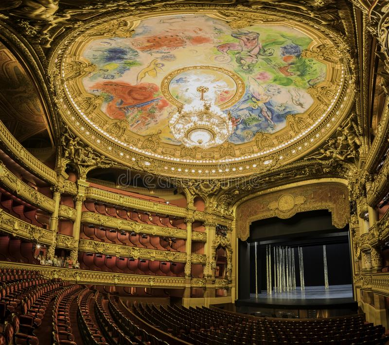 The colorful drawing roof of the Auditorium in the famous Palais Garnier. France, MAY 7: The colorful drawing roof of the Auditorium in the famous Palais Garnier royalty free stock photos