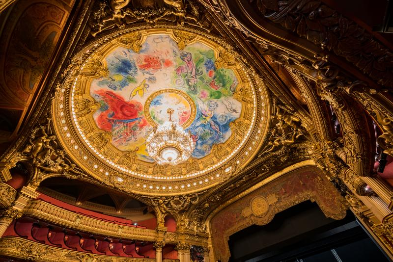 The colorful drawing roof of the Auditorium in the famous Palais Garnier. France, MAY 7: The colorful drawing roof of the Auditorium in the famous Palais Garnier stock image