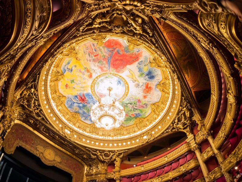 The colorful drawing roof of the Auditorium in the famous Palais Garnier. France, MAY 7: The colorful drawing roof of the Auditorium in the famous Palais Garnier royalty free stock photography