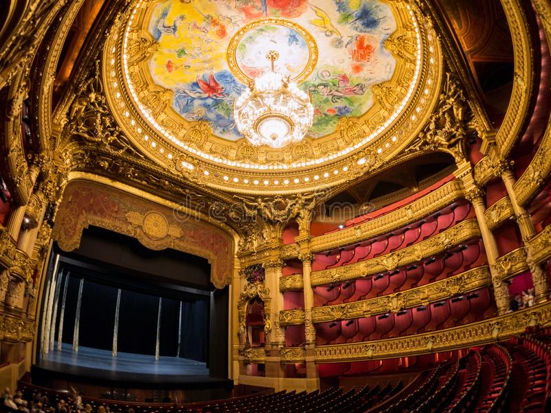 The colorful drawing roof of the Auditorium in the famous Palais Garnier. France, MAY 7: The colorful drawing roof of the Auditorium in the famous Palais Garnier stock photography
