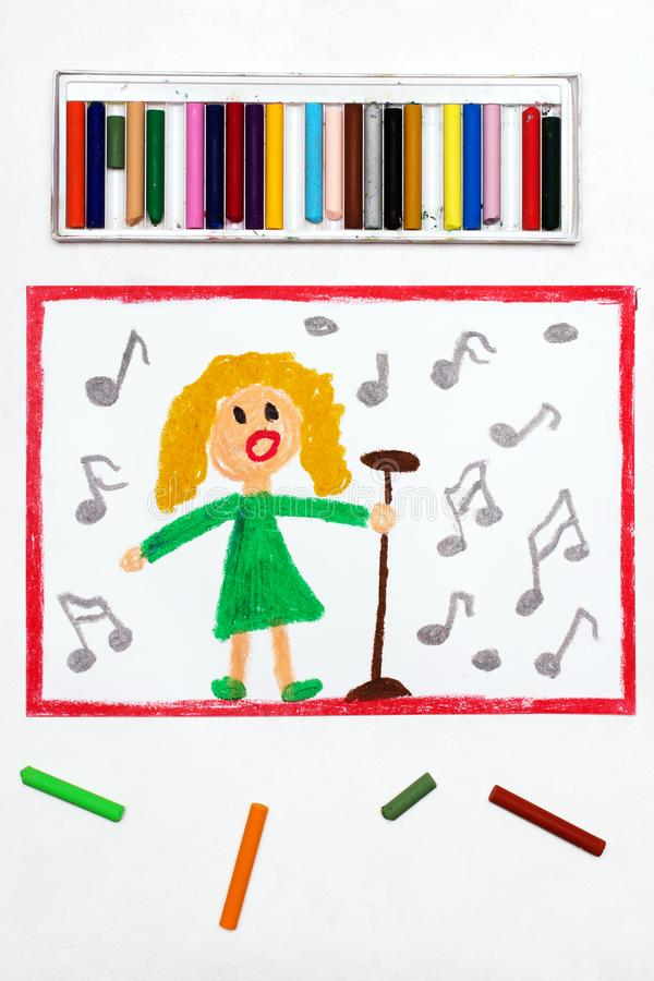 Drawing: Singer. A woman surrounded by notes sings a song. Colorful drawing: Singer. A woman surrounded by notes sings a song into the microphone royalty free stock photos