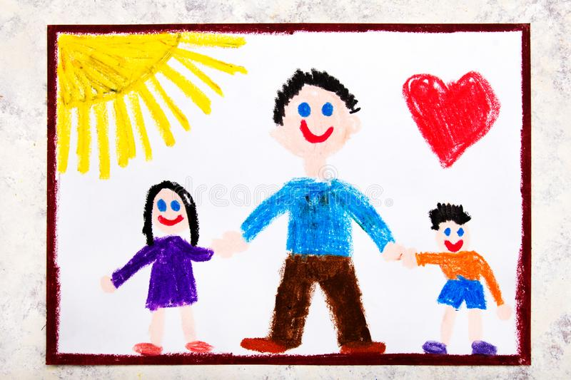 Colorful drawing: Single parenting. Smiling family with father and her two kids. Daughter and son vector illustration
