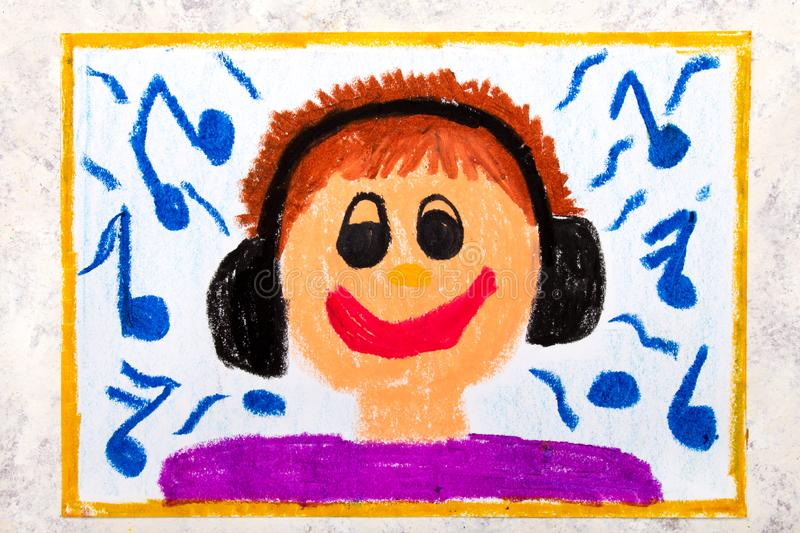 Colorful drawing: A smiling boy with headphones listening to music royalty free illustration