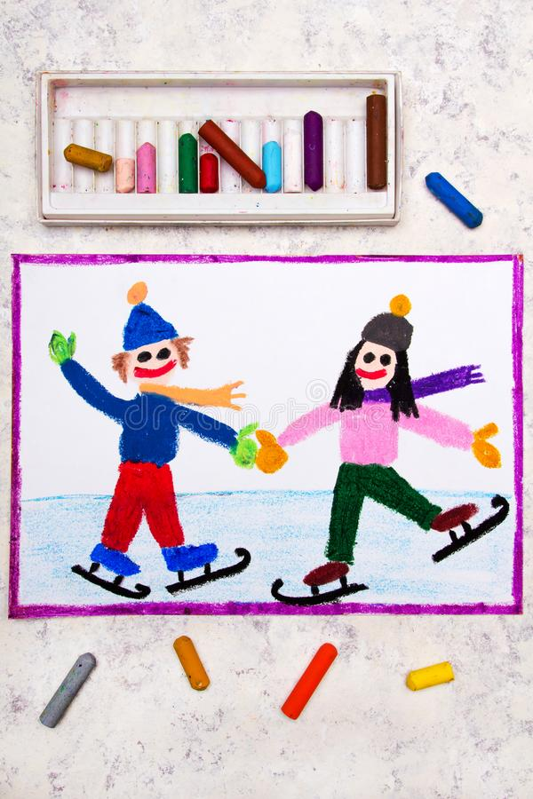Drawing: Smiling children are ice skating on the ice rink stock images