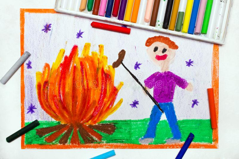 Drawing: Smiling man cooking sausages over a campfire stock image