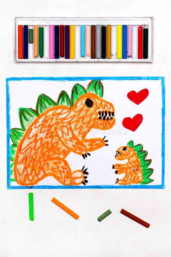 Drawing: Two cute monsters, mother and her child. Colorful drawing: Two cute monsters, mother and her child. Orange dragons and hearts stock image
