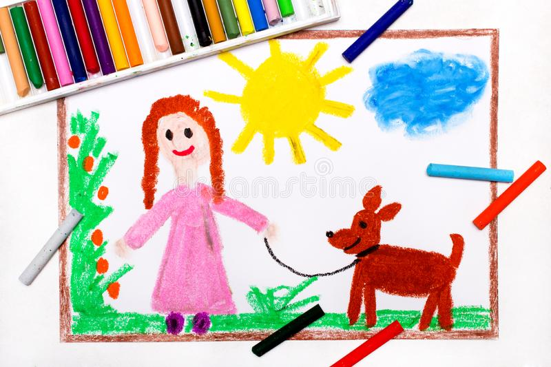 Drawing: Young girl in pink dress walking dog stock illustration