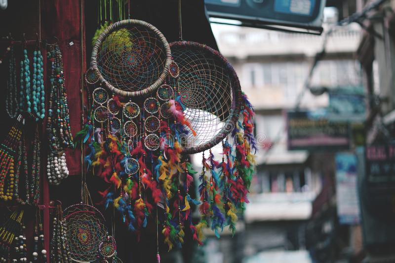 Colorful Dream Catcher Displayed For Sale at Thamel Street, Nepal stock photos