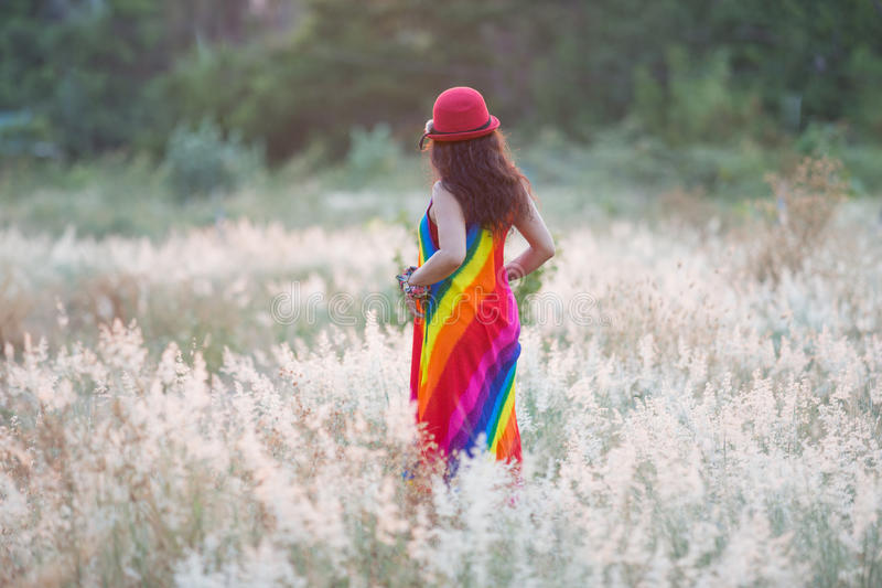 Colorful dress woman enjoy royalty free stock images