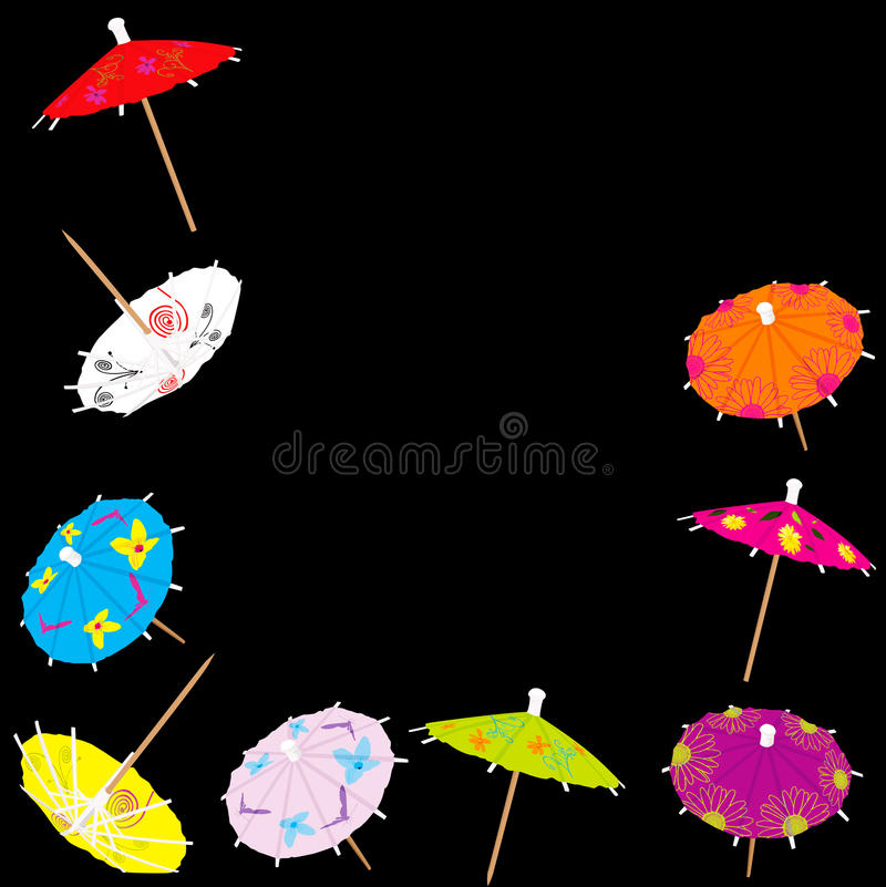 Colorful drink umbrellas. Bright paper drink umbrellas in a border arrangement royalty free illustration