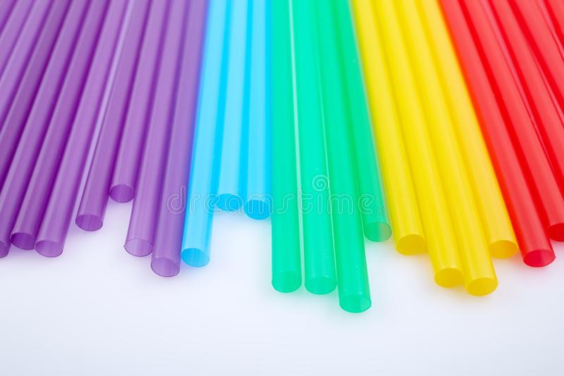 Colorful drinking straws for the color background. Abstract a colorful of plastic straws used for drinking water or soft drinks stock photos
