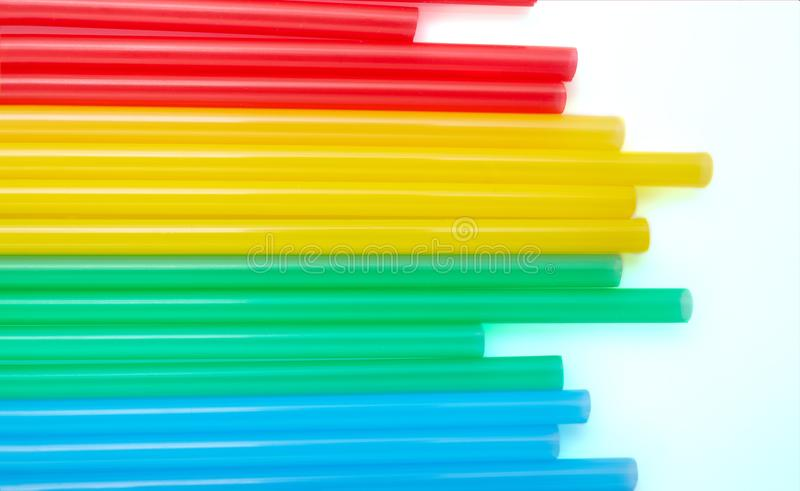 Colorful drinking straws for the color background. Abstract a colorful of plastic straws used for drinking water or soft drinks royalty free stock photo