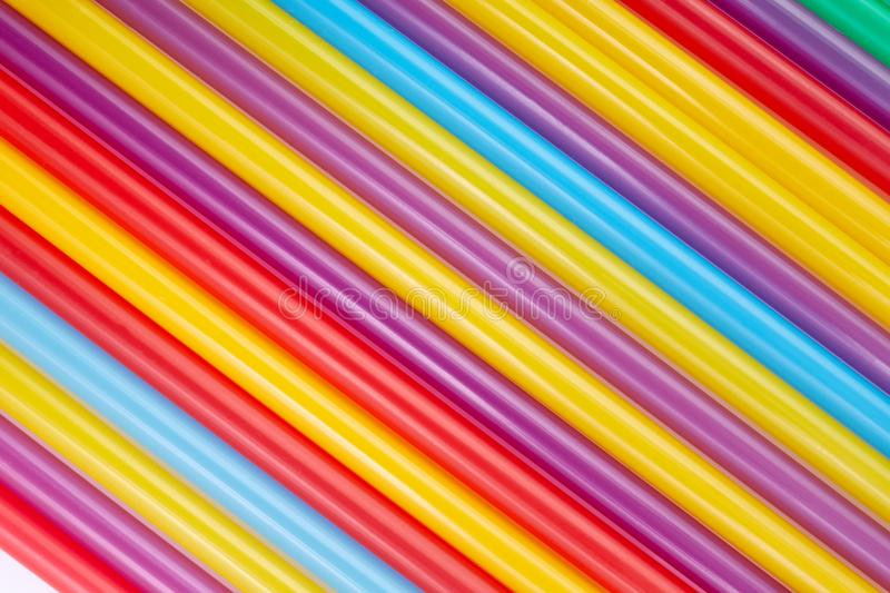 Colorful drinking straws for the color background. Abstract a colorful of plastic straws used for drinking water or soft drinks stock image
