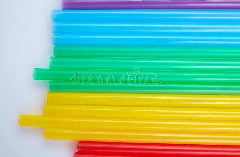 Colorful drinking straws for the color background. Abstract a colorful of plastic straws used for drinking water or soft drinks royalty free stock photography