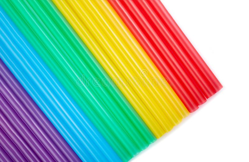 Colorful drinking straws for the color background. Abstract a colorful of plastic straws used for drinking water or soft drinks stock photo