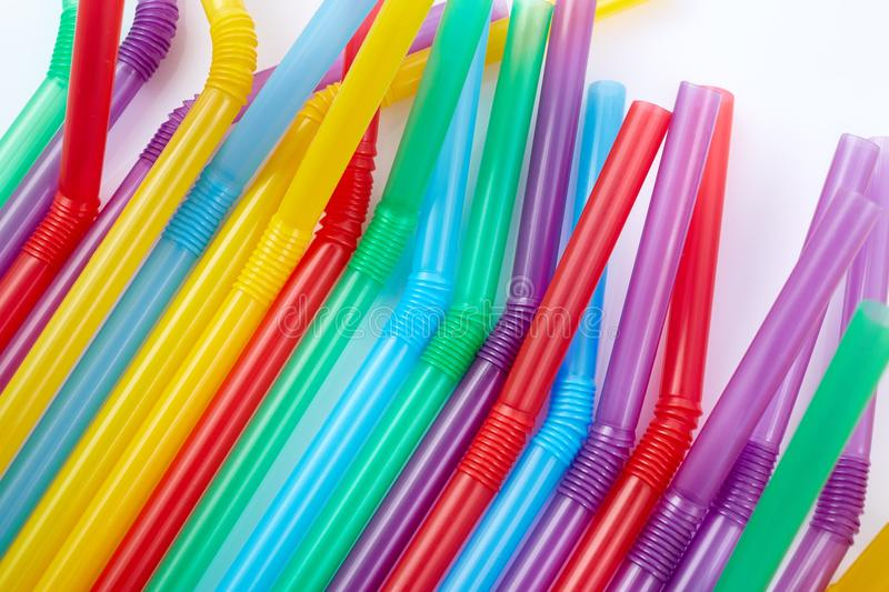 Colorful drinking straws for the color background. Abstract a colorful of plastic straws used for drinking water or soft drinks stock images