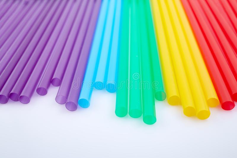 Colorful drinking straws for the color background. Abstract a colorful of plastic straws used for drinking water or soft drinks royalty free stock images