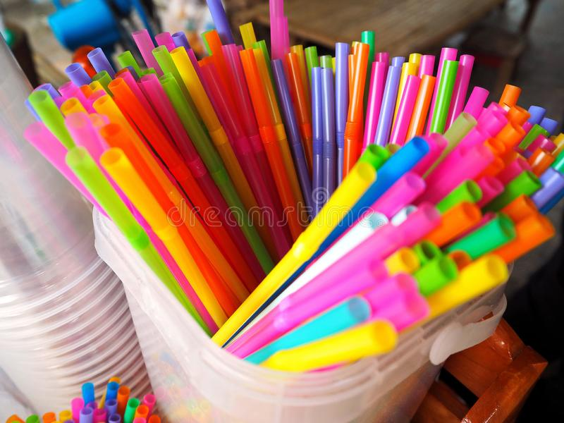 Colorful Drinking Straws on the Counter stock photography