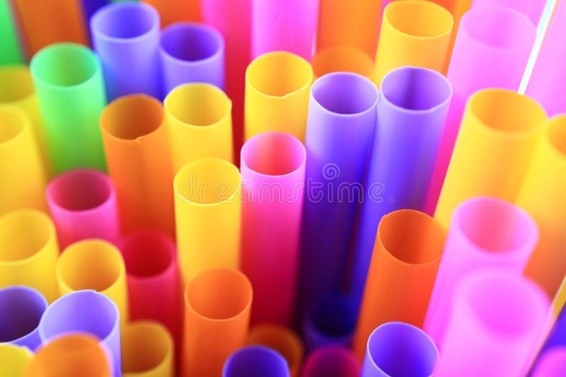 Colorful of drinking straws, top view, closeup, macro,. Abstract texture background stock photography