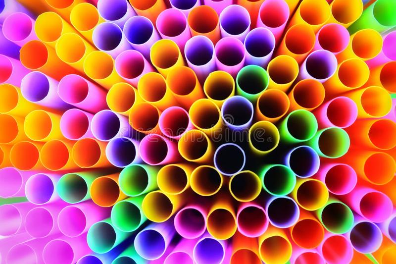 Colorful of drinking straws, top view, closeup, macro,. Abstract texture background royalty free stock photos